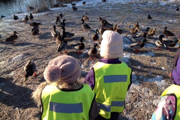 Förskolebarn utomhus